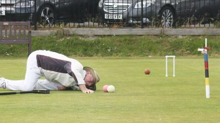Nigel Amos lines up a shot. Picture SIDMOUTH CROQUET CLUB