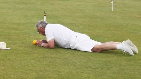 Chris Donovan lining up a shot. Picture SIDMOUTH CROQUET CLUB