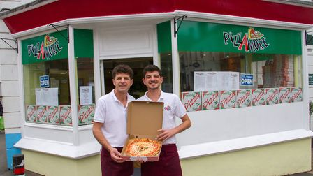 Zenel and Erando Sinanaj of PizzAmore in Ottery St Mary. Ref sho 24 19TI 6670. Picture: Terry Ife