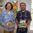 Carl East of Winstone's book shop with author Dave Hamilton at Kennaway House. Ref shs 25 19TI 6831.