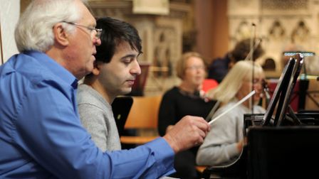 Roger Hendy and young pianist Luka Okros. Picture: John Dalton