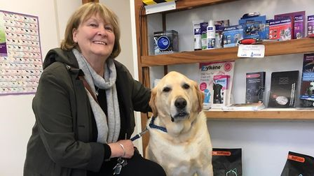 Kate Wilson and Barney who had an emergency dental operation thanks to Raddenstiles. Picture: Adrian