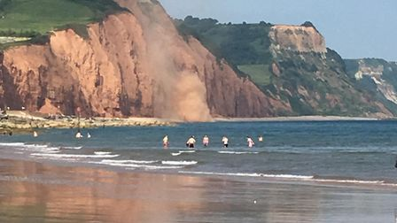 Beachgoers witnessed another cliff fall at East Beach in Sidmouth. Picture: Clare Luke