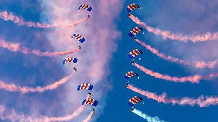 RAF Falcons parachute display team 2018 ratification by AOC 2 Group AVM David Cooper at RAF Brize No