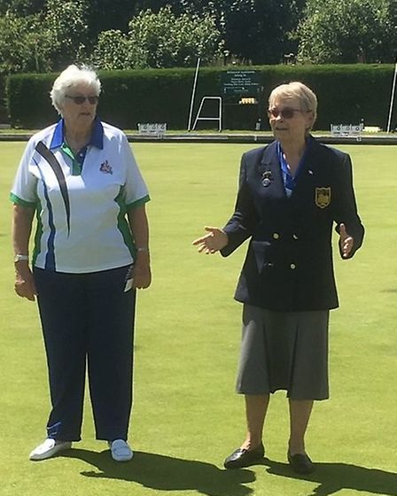 Ottery St Mary Bowls Club president Maggie Beighton' handing over the green' to the Devon Ladies' pr
