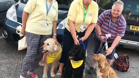 Pet Therapy volunteers and their dogs Jill Pincock and Lottie, Karen McGilchrist and Archie, Sue Bou