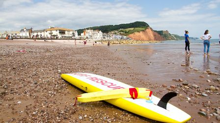 A surf rescue board on Sidmouth beach. Ref shs 27 19TI 7133. Picture: Terry Ife