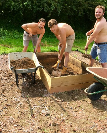 Staff from Combe Estate and Garden Centre at work in the heat. Picture: 1st Sid Vale Scouts