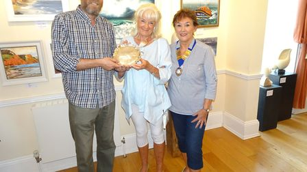 Matt Culmer, Judy Ritz and Sidmouth Society of Artists' chair Lynda Kettle. Picture; Terry Crook