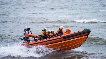 Sidmouth Lifeboat on the water on The Pride of Sidmouth which has rescued more than 200 people since