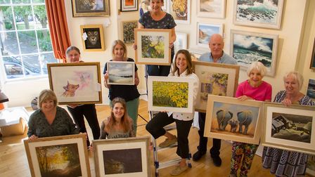 Sidmouth Society of Artists Chairperson Lynda Kettle and event organiser Rebecca Lockyear at their h