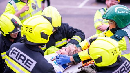 Sidmouth Fire Station and paramedics worked together as part of a drill to rescue casualties from ca