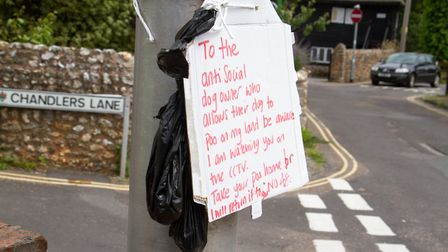 Dog Poo sign at Chandlers Lane. Ref shs 27 19TI 7033. Picture: Terry Ife