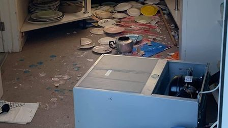 Items were overturn and plates broken by vandals. Picture: Dean Stewart