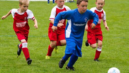 Ottery U7's playing in the youth football tournament at Ottery's Washbrook Meadow. Ref shsp 26 17TI