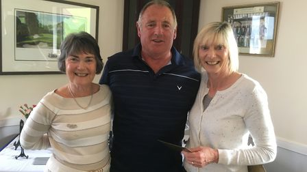 Lady captain Gill Paddon (left) with Sidmouth Mixed Open winners Bob and Marian Andrews. Picture SID