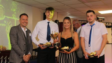 Ottery St Mary Football Club Golden Boot award winners with Budleigh Salterton ladies' manager Dan C
