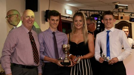 Ottery St Mary Football Club Goal of the Season award winners with Martin Keightley, the Axminster T