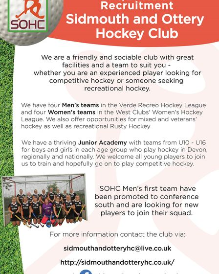 Sidmouth & Hockey Club recruitment poster. Picture ARCHANT