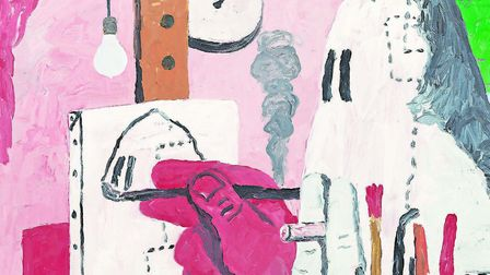 In The Studio Guston (1969) conflates the creative and the destructive, depicting the painter - himself - as a Klansman