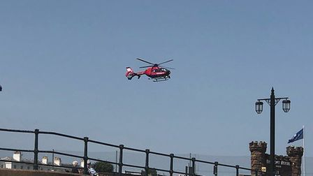 A student from Sidmouth International School was airlifted to hospital from Sidmouth beach. Picture: