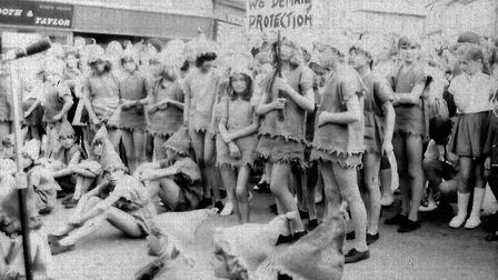Ottery Pixie Day, June 1971. Pixies gather in the square. Ref sho Pixie Day 1971 1. Picture: Archant