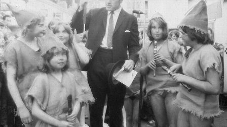Ottery Pixie Day, June 1971. The Pesky Pixies gather in the square. Ref sho Pixie Day 1971 3. Pictur