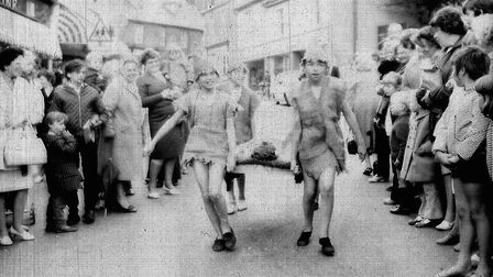Ottery Pixie Day, June 1971. Pixies run through the square. Ref sho Pixie Day 1971 2. Picture: Archa