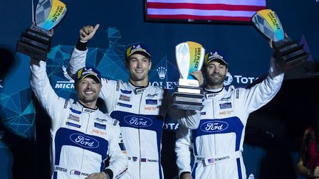 Harry Tincknell and team mates at the conclusion of the 2019 Le Mans 24 Hour race. Picture HARRY TIN
