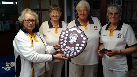 Sidmouth Spears Trophy winners Liz Boyle Paddy Chew and Jane Painter being presented with the trophy