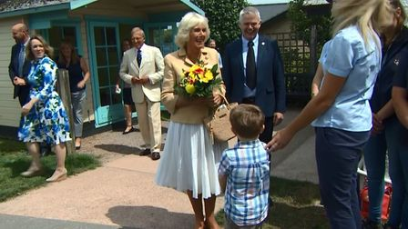 Three year old Jacob Leney sings happy birthday to Her Royal Highness the Duchess of Cornwall. Pictu