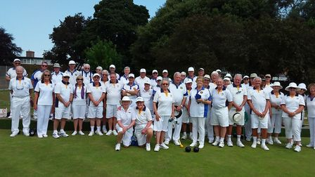 Sidmouth bowlers with their guests, touring side Barbourne from Worcestershire. Picture SIDMOUTH BOW