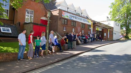 The queue for tickets at the Manor Pavilion Theatre, in Sidmouth, when tickets went on sale for the