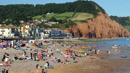 Tourists flock to Sidmouth beach. Picture: Alex Walton