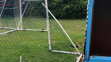 Damage caused to one of the goalposts used by Ottery Football Club youngsters and the community. Pic