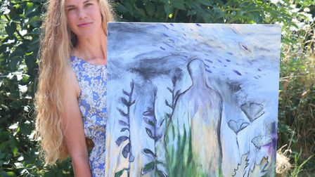 Artist Octavia Madden with her painting Spring Rain II, which will be in the exhibition. Picture: He