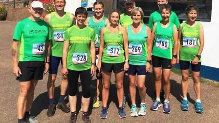 Sidmouth Running Club mmebers at the Jurassic Coast 10k meeting. Picture: SRC