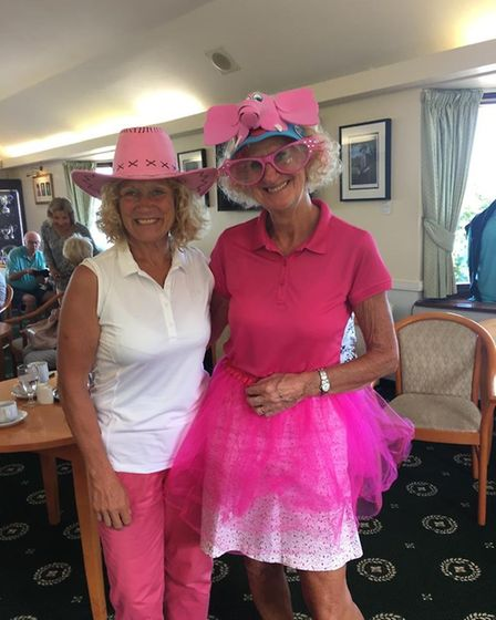Mo Kendall and Mo Borer all dressed and looking the part for the Lady Captains Day at Sidmouth Golf