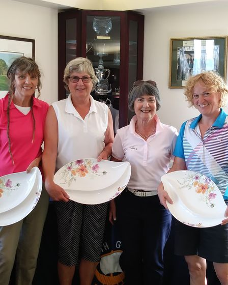 The Sidmouth Lady Captain's Day winning team with the captain (left to right), Michelle Bowers, Yvon