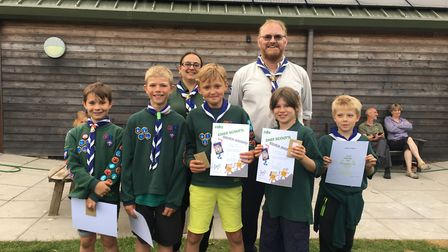 Members of 1st Sid Vale cub packs with their awards, including the prestigious Silver Chief Scout aw