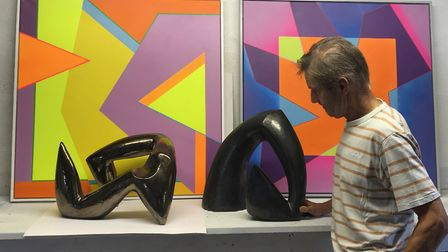 Mike Fletcher with some of his works of art. Picture: Mike Fletcher