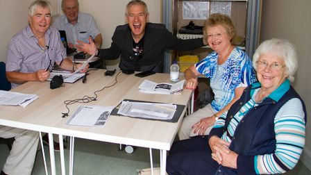 Jeremy Vine with Sid Vale Talking Newspapers chairman Haydn Thomas, left and members of the team. Re