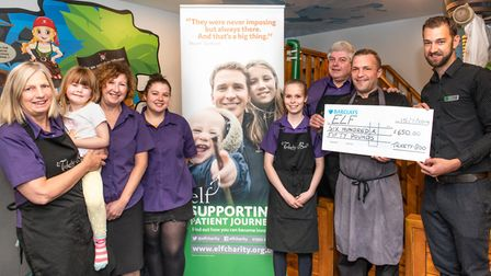 Tickety Boo coffee shop donates £650 to Exeter Leukaemia Fund (ELF). Picture: Andrew Butler