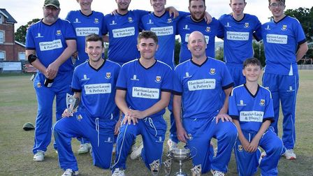 Sidmouth 2nds after their Corinthian Cup final success at Bovey Tracey. back row (left to right) Mil