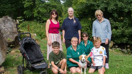 Maggie the beagle with her family Alison,Josh and Oscar Smith together with Donna Green,Stephanie Ha