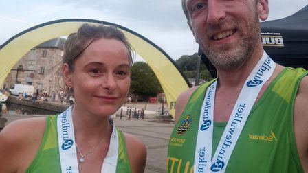 Antony and Kat Hall at the Straight Eight meeting in Exeter. Picture; SIDMOUTH RUNNING CLUB