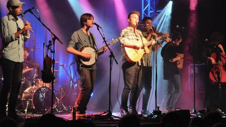 Sam Kelly with the Lost Boys at the Ham marquee. Picture: Paul Strange