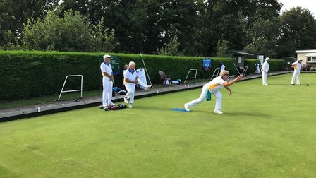 Action from the Ottery St Mary internal triples competition. Picture: OSMBC