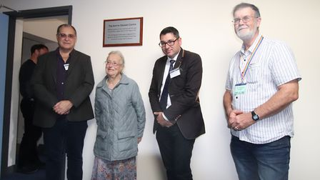The opening of the new centre at the Norman Lockyer Observatory with Pete Lawrence (left), Diana Bea