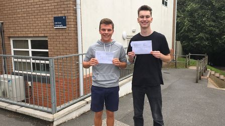 Stephen Lilley and Billy Parker celebrate their A level results at The King's School in Ottery. Pict